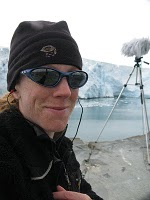 Cheryl Leonard recording Glaciers in Antarctica